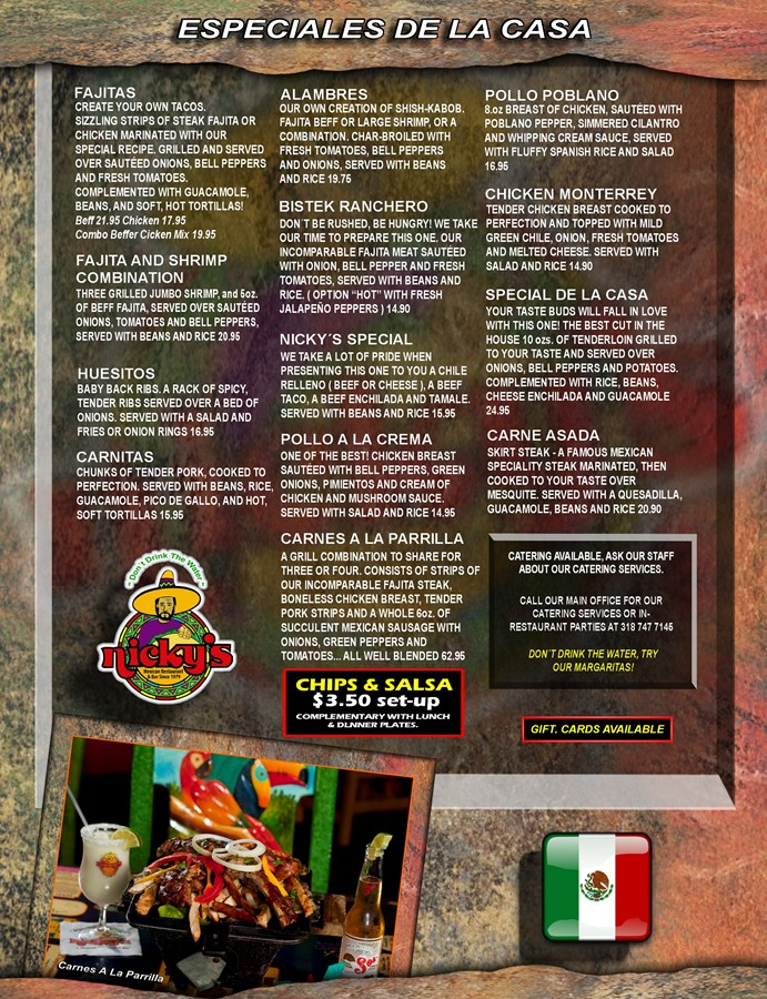 Nickys Mexican Restaurant Menu