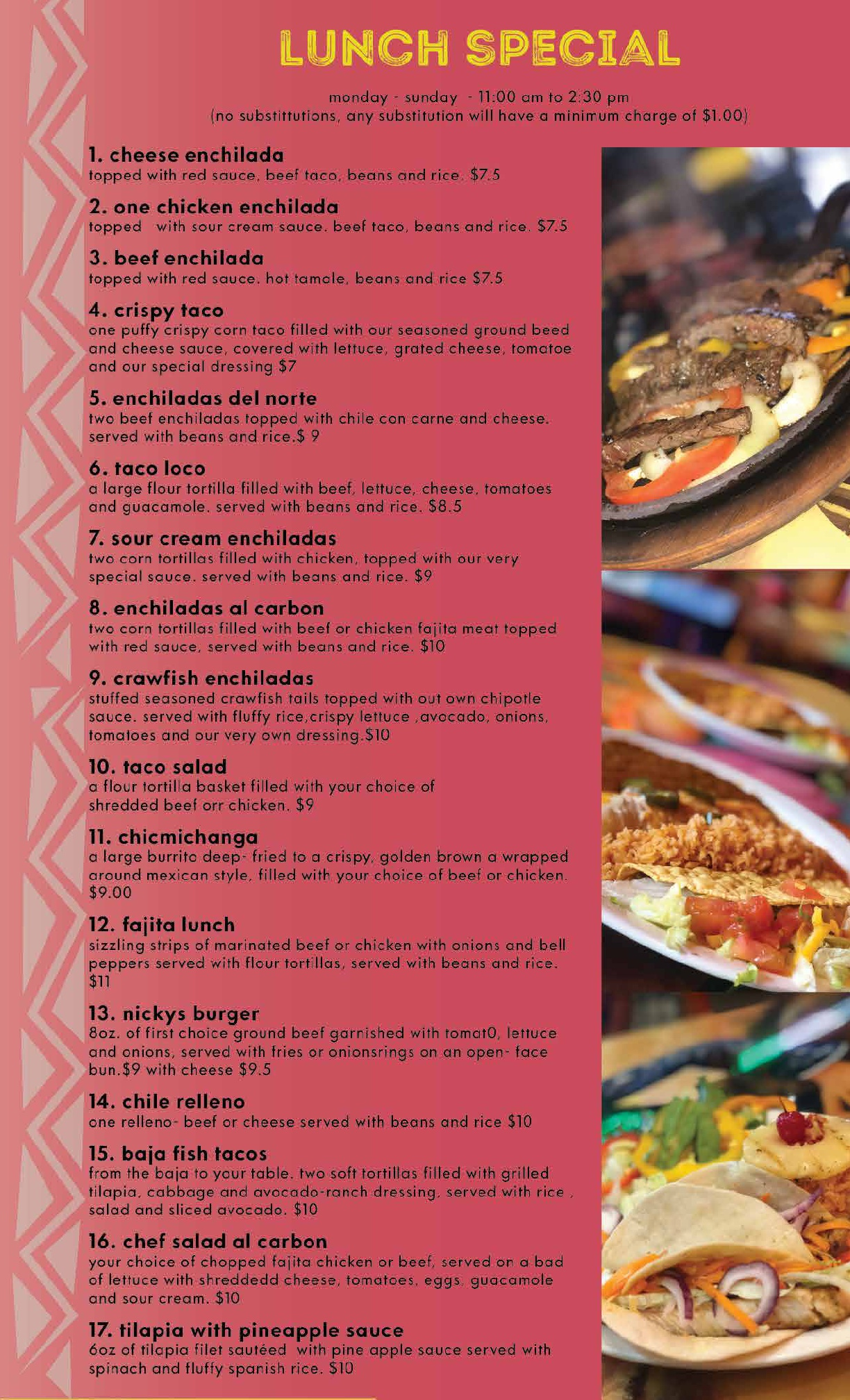 Our Menu Nickys Mexican Restaurant